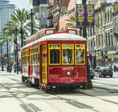 Red trolley streetcar on rail Royalty Free Stock Photos