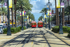 Red trolley streetcar on rail Royalty Free Stock Photo