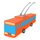 Red trolleybus icon, cartoon style Stock Images