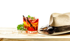 Red tropical drink. Campari, aperol, caipirinha, sangria Royalty Free Stock Photos