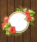 Red tropical flowers and green leaves Royalty Free Stock Photo