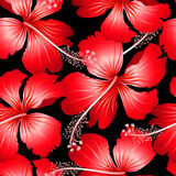 Red tropical hibiscus flowers with black background seamless pat Royalty Free Stock Image