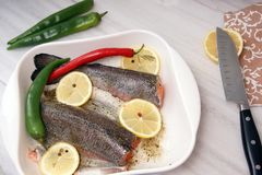 Red trout fish, ready to be baked in the oven with lemon and hot pepper in a white bowl.  royalty free stock photos