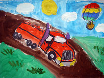 Red truch on the road - painted by child Royalty Free Stock Photography