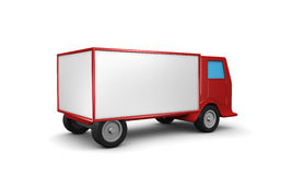 Red truck. Red truk in 3d with a white container stock illustration