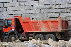 Red truck. Sand truck to transport work Stock Photo