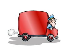 Red  truck. Illustration of a red delivery truck with blank space for layout presentation on isolated white  background Royalty Free Stock Images
