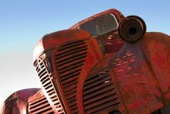 Red Truck. The grille of an old red truck royalty free stock photography