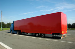 Red truck. At the parking, free space for text Royalty Free Stock Photo