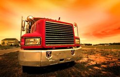 Red Truck. Wide angle shot of red semi truck Stock Images
