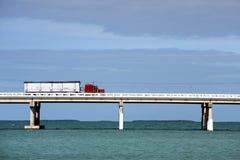 Red truck. Truck driving on Bahia Honda bridge of Overseas highway, Florida Keys Royalty Free Stock Image