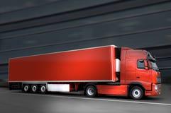 Red truck on asphalt. Red semi truck on the asphalt Royalty Free Stock Image