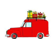 Red truck with Christmas gifts Stock Image