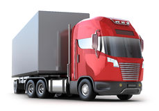 Red Truck with container Stock Photo