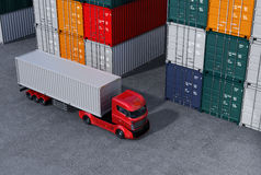 Red truck in container port. 3D rendering image Royalty Free Stock Photo