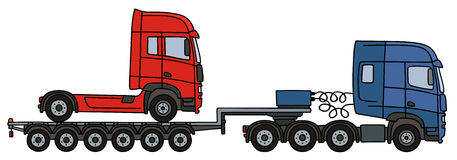 Red truck on a flatbed semitrailer Royalty Free Stock Photography