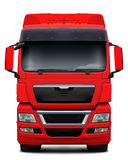 Red truck front view. Royalty Free Stock Photography
