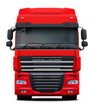 Red truck front view. Royalty Free Stock Images