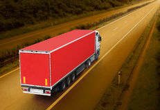 The Red Truck. Red truck on the highway. Picture with space for your text Royalty Free Stock Images