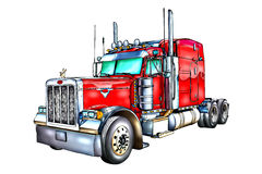 Red truck illustration color isolated art Royalty Free Stock Image