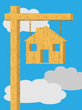 House sign post. An Illustration of a wooden blank house shaped sign hanging from a post Stock Photography