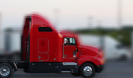 Red truck with motion Royalty Free Stock Photography