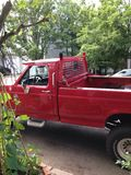 Red truck. Red pickup truck, unknown model and Royalty Free Stock Photography