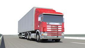 Red truck on road. Isolated white Royalty Free Stock Photo