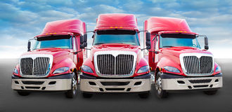 Red truck on the road Royalty Free Stock Photos