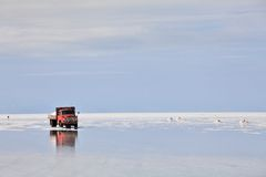 Red truck in the salt desert Royalty Free Stock Image