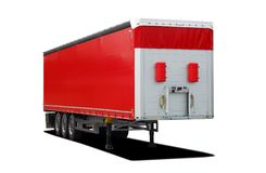 Red truck semi trailer Royalty Free Stock Image