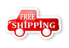 Red truck with a sign free shipping Stock Image