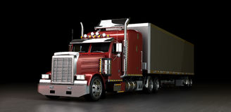 Truck at night. Red truck with a trailer at night Royalty Free Stock Photos