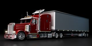 Truck at night. Red truck with a trailer at night Royalty Free Stock Photo