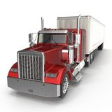 Red truck with a trailer on white 3D Illustration. Red truck with a trailer on white background 3D Illustration royalty free illustration