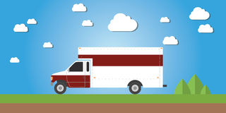 Red truck van cargo delivery illustration concept Royalty Free Stock Images