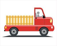 Red truck. Vector image of a red truck, side view, white background, mini truck royalty free illustration