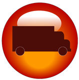 Red truck web icon or button. Red web button or icon with a truck on it - transportation concept - vector Stock Images