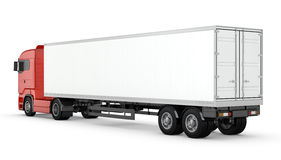 Red truck with white blank semi-trailer isolated Stock Photo