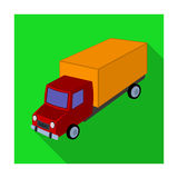 Red truck with a yellow body. The car for cargo transportation.Transport single icon in flat style vector symbol stock Royalty Free Stock Photography