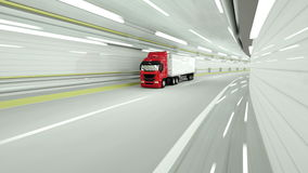 Red truckin a tunnel. fast driving. 3d rendering. Red truckin a tunnel. fast driving. 3d rendering stock video