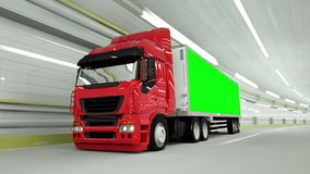 Red truckin a tunnel. fast driving. Green screen footage. Red truckin a tunnel. fast driving. Green screen footage stock video