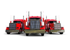 Red trucks concept. 3D render image representing a line of red american  trucks Stock Photography