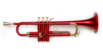 Red trumpet. Trumpet on white background (soft focus Royalty Free Stock Images
