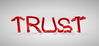 Red Trust word destruction stock photography