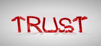 Red Trust word destruction. Over grey background royalty free illustration
