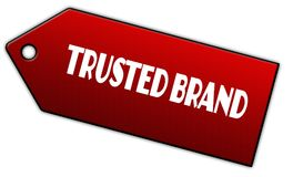 Red TRUSTED BRAND label. Illustration graphic design concept image Stock Photo