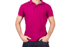 Red Tshirt on Young Man Stock Photo