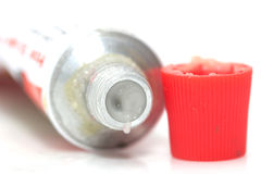 Red tube of cream Royalty Free Stock Photography