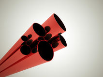 Red tubes. Concept rendered on dark background Stock Photo